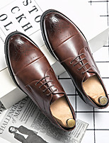 cheap -Men's Oxfords Printed Oxfords Business Vintage Classic Daily Party & Evening Nappa Leather Cowhide Non-slipping Wear Proof Booties / Ankle Boots Black Coffee Spring Summer