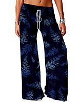 cheap -Women's Basic Soft Comfort Daily Home Chinos Pants Graphic Prints Leaves Print Full Length Elastic Drawstring Design Print Black Blue Red Yellow Blushing Pink