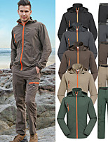 cheap -Men's Hoodie Jacket Hiking Jacket with Pants Outdoor Solid Color Lightweight UV Sun Protection Windproof Breathable Jacket Top Clothing Suit Full Length Visible Zipper Fishing Climbing Running Black