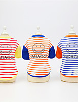 cheap -Dog Cat Shirt / T-Shirt Stripes Patterned Leisure Stripes Dailywear Casual / Daily Dog Clothes Puppy Clothes Dog Outfits Breathable Yellow Blue Orange Costume for Girl and Boy Dog Padded Fabric S M L