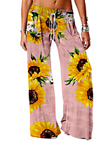 cheap -Women's Basic Soft Comfort Daily Home Chinos Pants Flower / Floral Sunflower Full Length Elastic Drawstring Design Print Black Blue Red Yellow Blushing Pink