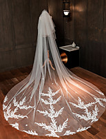 cheap -One-tier Classic Wedding Veil Chapel Veils with Solid 118.11 in (300cm) Lace