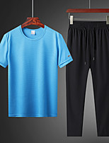 cheap -Men's T shirt Hiking Tee shirt Hiking Shirt with Pants Short Sleeve Pants / Trousers Bottoms Clothing Suit Outdoor Quick Dry Lightweight Breathable Sweat wicking Autumn / Fall Spring Summer Ice Silk