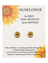 cheap -handmade boho style sunflower bracelet friendship jewelry for women girl gift for family friends (sunflower earrings)