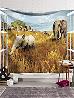 cheap -Wall Tapestry Art Decor Blanket Curtain Hanging Home Bedroom Living Room Decoration Polyester Elephant Walking in the Yellow Grass