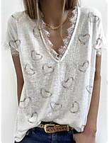 cheap -Women's T shirt Graphic Heart Lace Trims Print V Neck Tops Basic Basic Top White Black