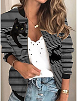 cheap -Women's Jackets Striped Print Sporty Fall Jacket Regular Daily Long Sleeve Air Layer Fabric Coat Tops Black