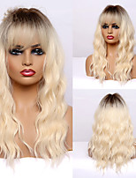 cheap -Long Wavy Brown to Light blonde Ombre Synthetic Wigs With Bang for Afro Women Heat Resistant Cosplay Natural Hair Wigs