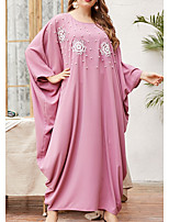 cheap -Women's Kaftan Dress Maxi long Dress Blushing Pink Long Sleeve Solid Color Embroidered Summer Round Neck Casual Batwing Sleeve 2021 One-Size