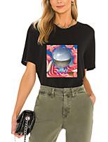 preiswerte -Damen T-Shirt Grafik Geometrisch Buchstabe Druck Rundhalsausschnitt Oberteile 100% Baumwolle Grundlegend Basic Top Weiß Schwarz