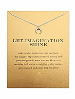 cheap -brave moon necklace good luck friendship compass pendant chain y necklace with message card gift card (silver moon)