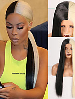 cheap -Cosplay Costume Wig Synthetic Wig Natural Straight Middle Part Wig 24 inch Black / Gold Synthetic Hair Women's Odor Free Fashionable Design Soft Black / Blonde