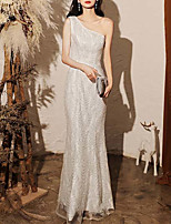 cheap -Mermaid / Trumpet Sparkle Sexy Wedding Guest Prom Dress One Shoulder Sleeveless Floor Length Sequined with Sequin 2021