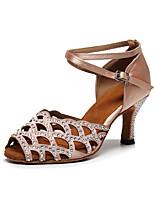 cheap -Women's Latin Shoes Heels High Heel Crystal / Rhinestone Crystal Heel High Heel Open Toe Dark Red Black Khaki Buckle Glitter Crystal Sequined Jeweled / Satin / Satin / Silk / Professional