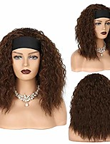 cheap -jevon kinky curly wigs for black women with headband wigs brown wigs synthetic hair water wave afro wigs glueless none lace front wigs 20 inches - brown