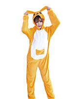 cheap -Adults' Kigurumi Pajamas Kangaroo Onesie Pajamas Flannelette Orange Cosplay For Men and Women Animal Sleepwear Cartoon Festival / Holiday Costumes
