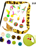 cheap -Ball Teaser Feather Toy Squeaking Toy Collapsible Cat Tunnel Tube Cat Kitten 20pcs Ball Pet Friendly Foldable Retractable Adorable Plastic Plush Gift Pet Toy Pet Play