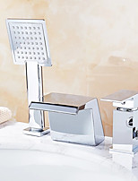 cheap -Bathtub Faucet - Contemporary Chrome Free Standing Ceramic Valve Bath Shower Mixer Taps