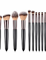 cheap -makeup brushes set 11pcs professional blush eyeshadow concealer face lip eyelash brush wood handle powder cosmetics beauty tool (black 2)