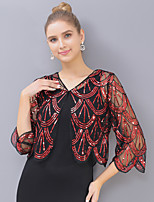 cheap -3/4 Length Sleeve Elegant / Bridal Tulle / Sequined Wedding / Party / Evening Shawl & Wrap / Women's Wrap With Split Joint / Ruffle / Color Block