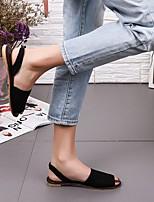 cheap -Women's Sandals Boho Bohemia Beach Flat Heel Peep Toe Rubber Solid Colored Dark Brown White Black
