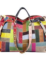 cheap -2021 new cross-border leather handbags european and american fashion contrast color rivet shoulder bag top layer leather handbag