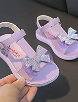 cheap -Girls' Sandals Comfort Flower Girl Shoes Princess Shoes PU Big Kids(7years +) Daily Party & Evening Walking Shoes Rhinestone Bowknot Purple Pink Spring Summer