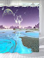 cheap -Purple Blue Universe Digital Printing Shower Curtain Shower Curtains  Hooks Modern Polyester New Design