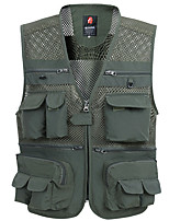 cheap -Men's Hiking Vest / Gilet Fishing Vest Sleeveless Vest / Gilet Jacket Top Outdoor Quick Dry Lightweight Breathable Sweat wicking Autumn / Fall Spring Summer Black 03 Army Green 03 Khaki 03 Hunting