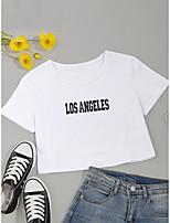 cheap -Women's Crop Tshirt Letter Print Round Neck Tops Cotton Basic Basic Top White Black