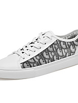 cheap -Men's Sneakers Casual Classic Preppy Daily Office & Career Nappa Leather Mesh Breathable Non-slipping Wear Proof White Black Spring Summer