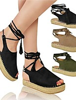 cheap -Women's Sandals Platform Peep Toe Rubber Lace-up Solid Colored Black Army Green Khaki
