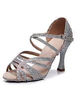cheap -2021 New Women's Latin Shoes Heels High Heel Crystal / Rhinestone Crystal Heel Open Toe Dark Brown White Black Buckle Glitter Crystal Sequined Jeweled / Satin / Silk