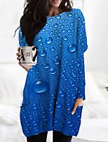 cheap -Women's Shift Dress Short Mini Dress Blue Long Sleeve Print Color Gradient Print Fall Spring Round Neck Casual 3D Print S M L XL XXL 3XL
