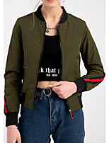cheap -Women's Jackets Color Block Patchwork Sporty Spring Jacket Regular Daily Long Sleeve Polyester Coat Tops Black