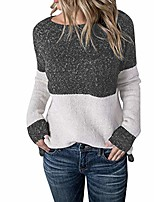 cheap -women shirt calsual long sleeve color collision knitting sweater blouse gray