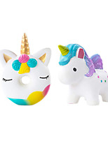 cheap -Squishies 2 Pcs Unicorn Donut Galaxy Unicorn Squishy Slow Rising Jumbo Kawaii Toys for Kids