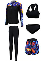 cheap -Women's Rash Guard Dive Skin Suit Swimwear UV Sun Protection Quick Dry Long Sleeve Front Zip 5-Piece - Swimming Diving Surfing Snorkeling Floral / Botanical Autumn / Fall Spring Summer