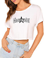 cheap -Women's Crop Tshirt Graphic Letter Print Round Neck Tops 100% Cotton Basic Basic Top White Black