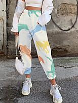 cheap -Women's Fashion Casual / Sporty Comfort Fitness Weekend Sweatpants Pants Graphic Animal Full Length Pocket Elastic Drawstring Design Print White
