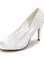 cheap -Women's Wedding Shoes Stiletto Heel Peep Toe Lace Braided White Black Pink