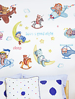cheap -Cartoon Moon Bear Airplane Children's Room Bedroom Porch Kindergarten Wall Background Decoration Can Be Removed Wall Stickers