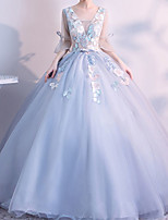 cheap -Ball Gown Elegant Floral Quinceanera Prom Dress V Neck 3/4 Length Sleeve Floor Length Tulle with Embroidery 2021
