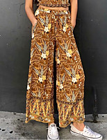 cheap -Women's Chino Boho Comfort Casual Weekend Bootcut Pants Floral Graphic Full Length Elastic Waist Print Brown