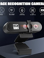 cheap -Video Conference Webcam 2K PC Web Camera with Face Recognition Dual Lens Autofocus HD Camera for Computer Live Broadcast