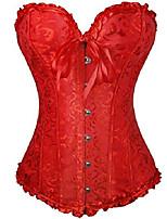 cheap -niyigeji women's sexy floral lace satin corset vintage drawstring corset red-3xl