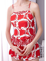 cheap -Women's Print Suits Nightwear Solid Colored Red M L