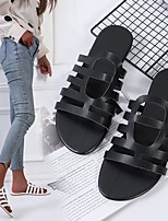 cheap -Women's Sandals Boho Bohemia Beach Roman Shoes Gladiator Sandals Flat Heel Round Toe Rubber Solid Colored White Black Khaki