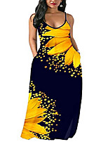cheap -hugenice sunflower floral printed long maxi dresses for women adjustable spaghetti strap loose straight lanie mult dress with pockets