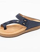 cheap -Women's Sandals Boho Bohemia Beach Flat Heel Open Toe PU Solid Colored Blue Pink Green